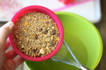 stir in birdseed for birdfeeder