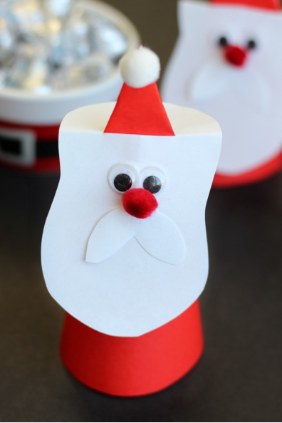 A finished Santa cone craft made with Little Passports