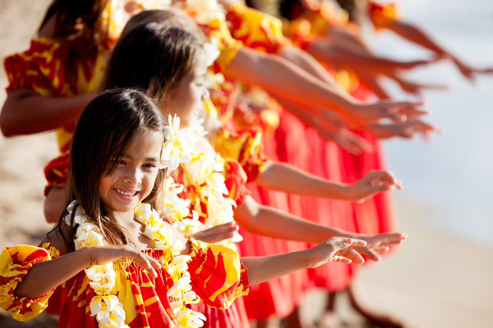 Little girls dancing the hula