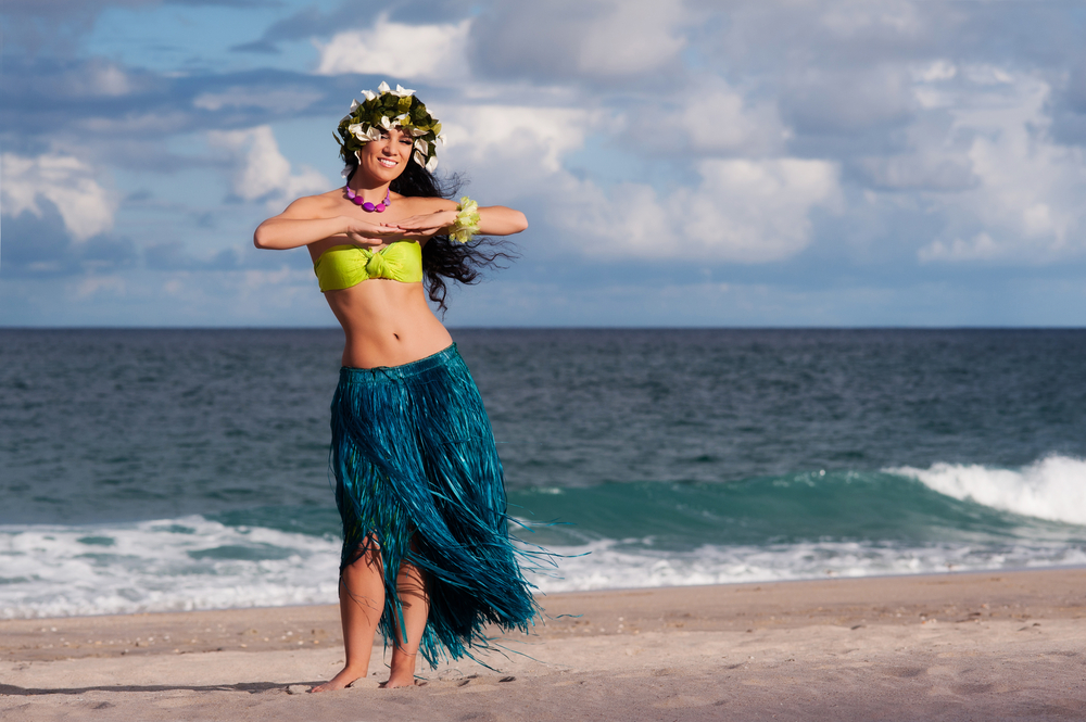 Hula dancer at the beach