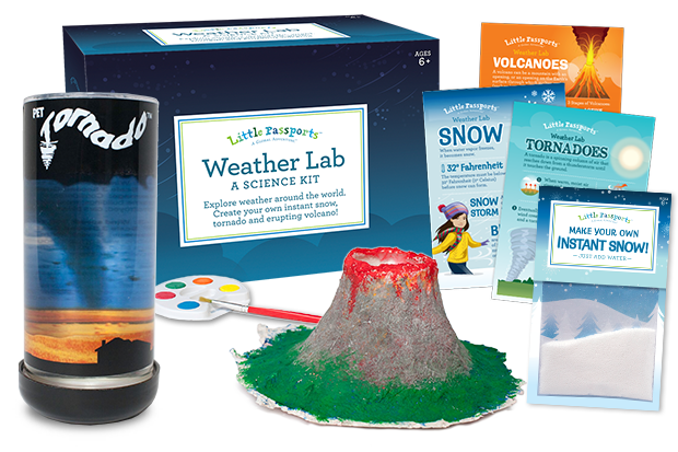 Weather lab kit showing an example of a completed volcano