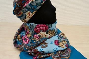 Как сшить шапку и палантин из платка