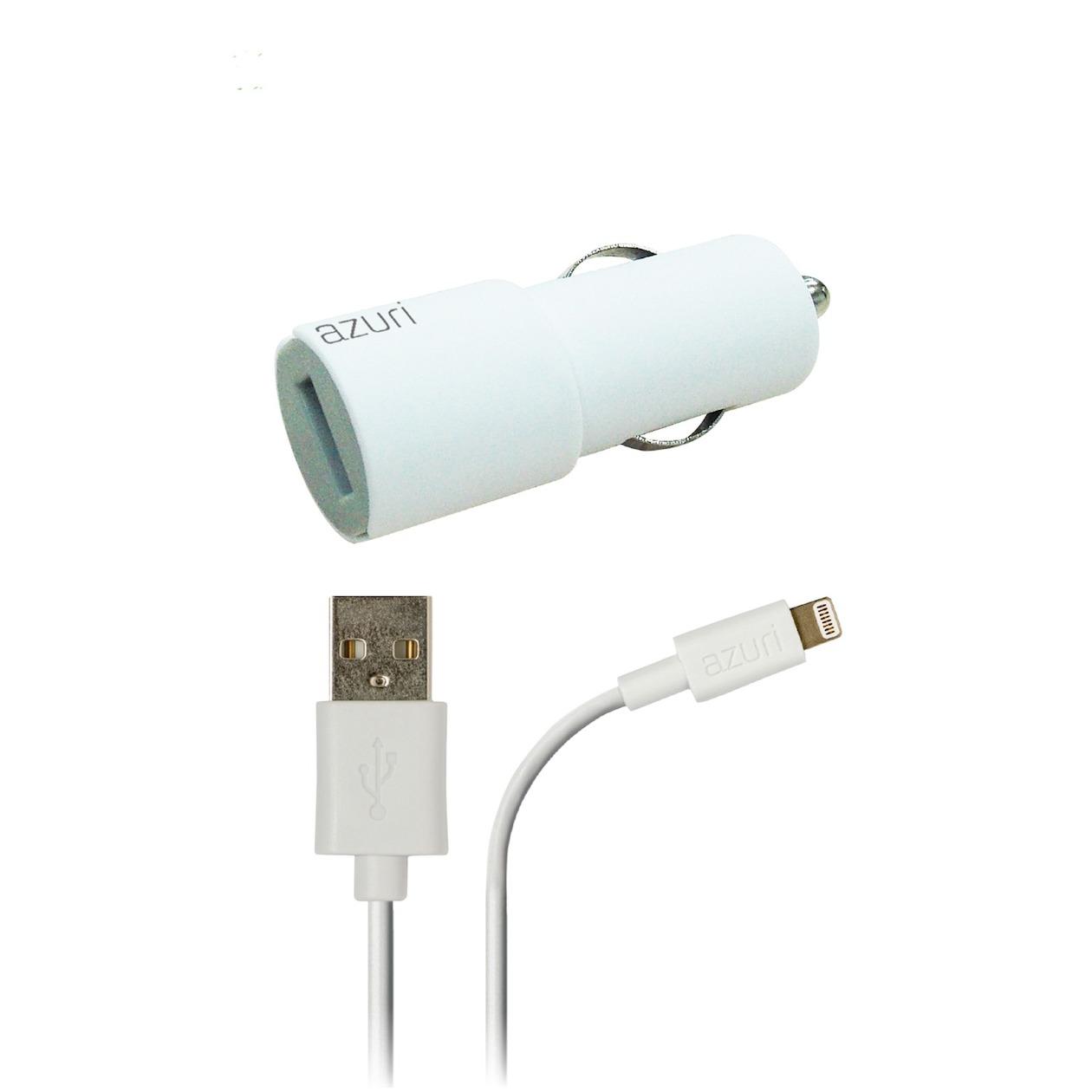Afbeelding van Azuri oplader Autolader Apple Lightning connector wit