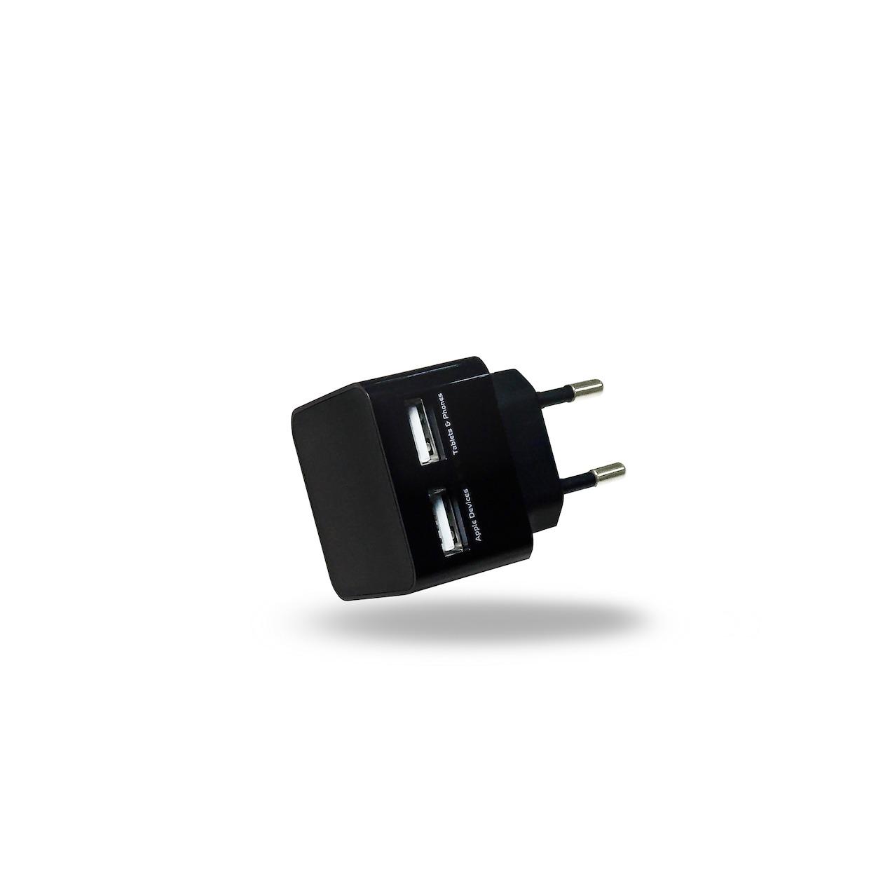 Afbeelding van Azuri oplader Thuislader 2 x USB-adapter zwart
