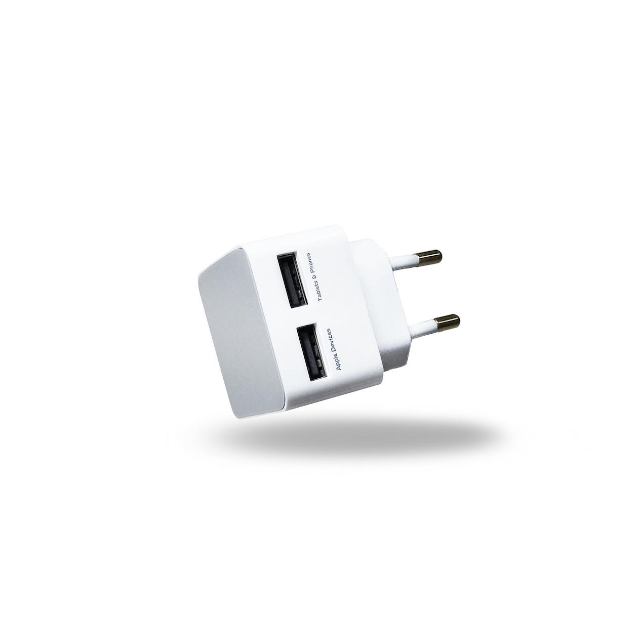 Afbeelding van Azuri oplader Thuislader 2 x USB-adapter wit