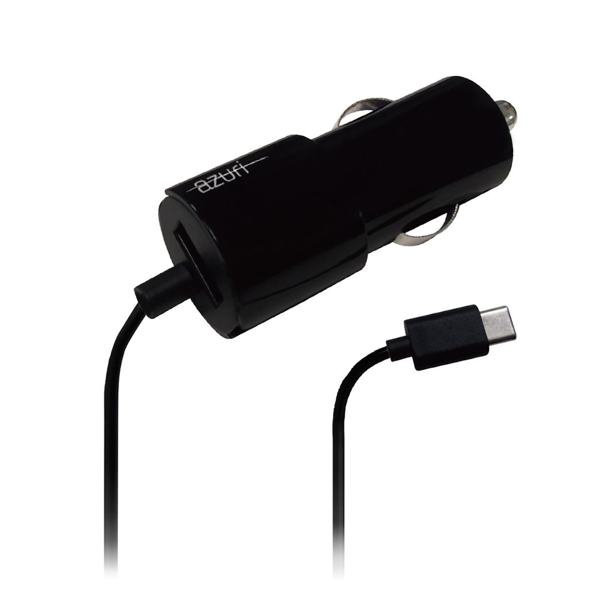 Afbeelding van Azuri oplader Autolader USB-C met extra USB 2.4amp 1.2m zwart