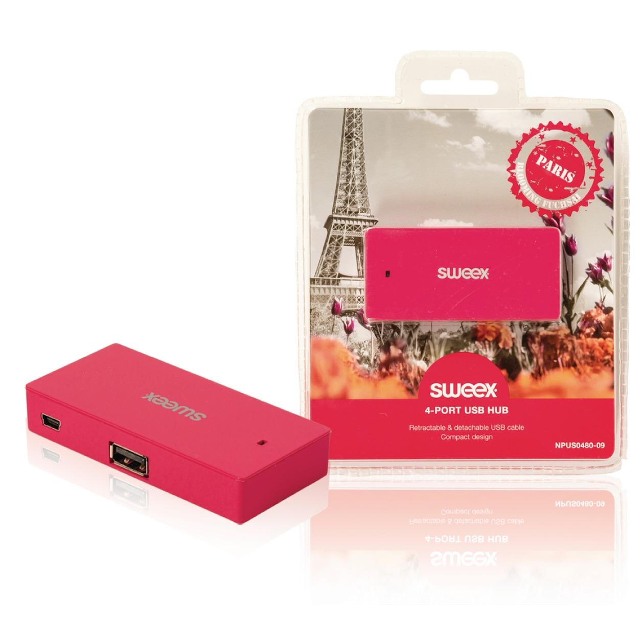 4-poorts USB-hub Paris fuchsia
