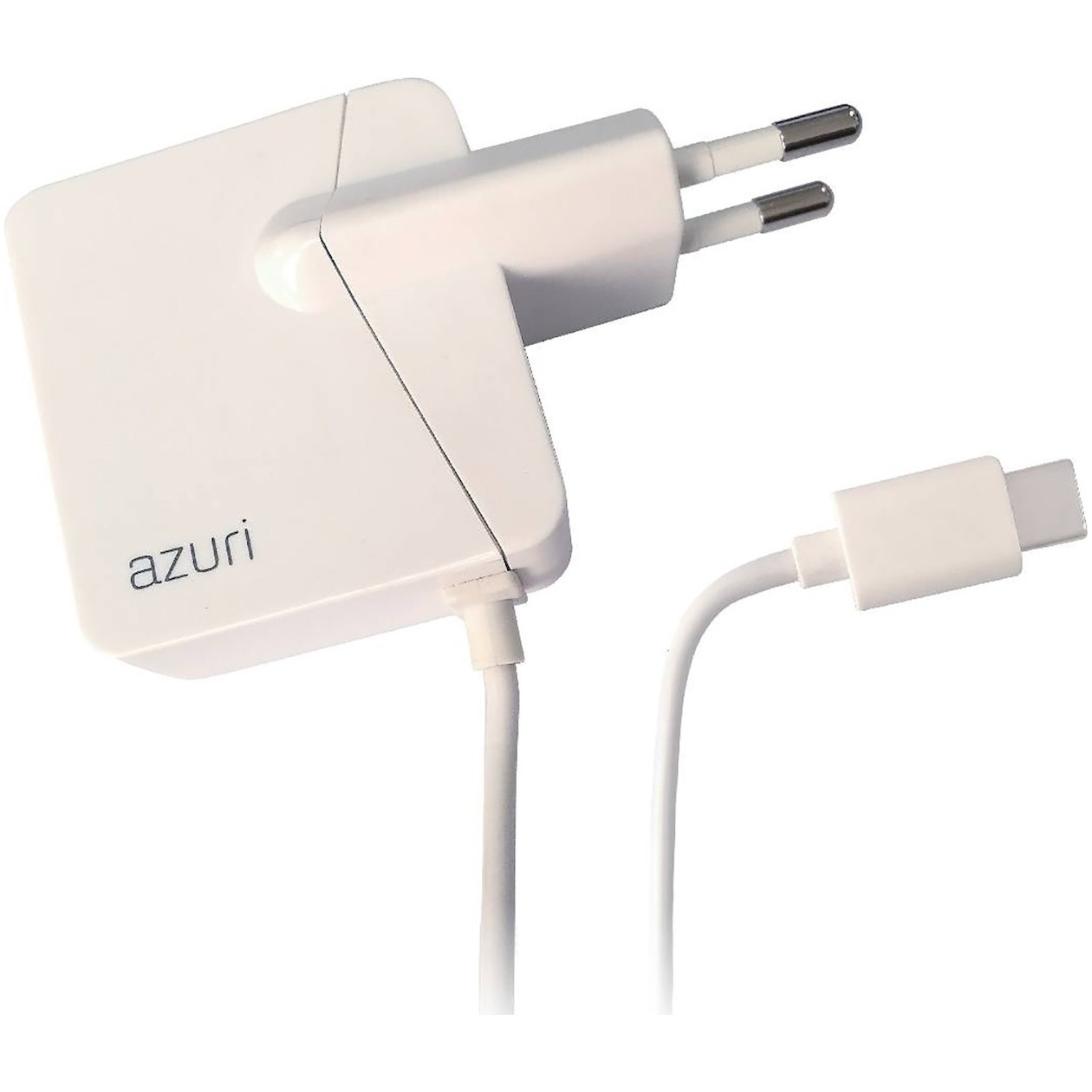 Azuri thuislader USB type C fix cable 2.4amp-1.2m-wit