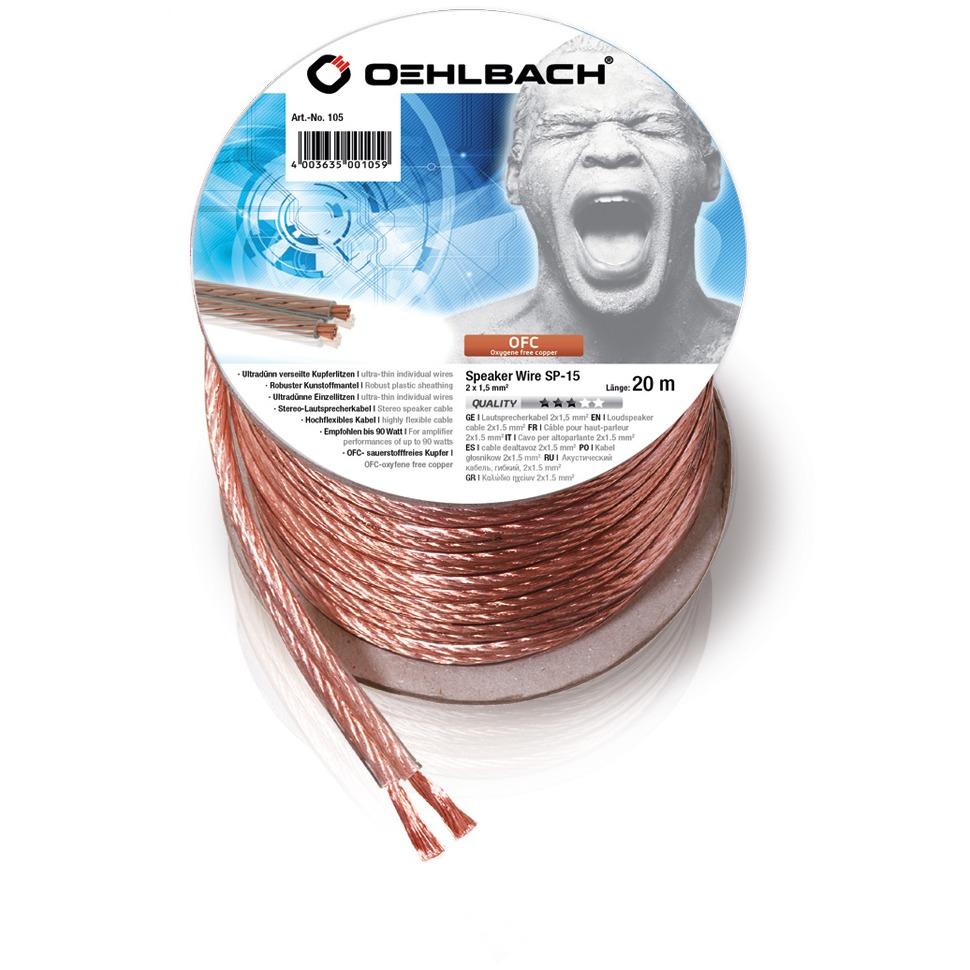 Oehlbach luidspreker kabel Luidsprekerkabel 2 x 15 mm² minihaspel 20 m