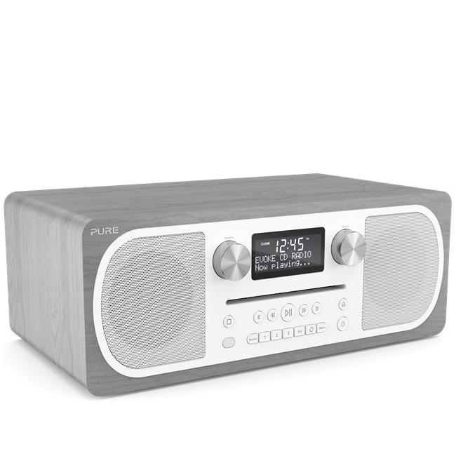 Pure dab radio Evoke CD6 hout/grijs