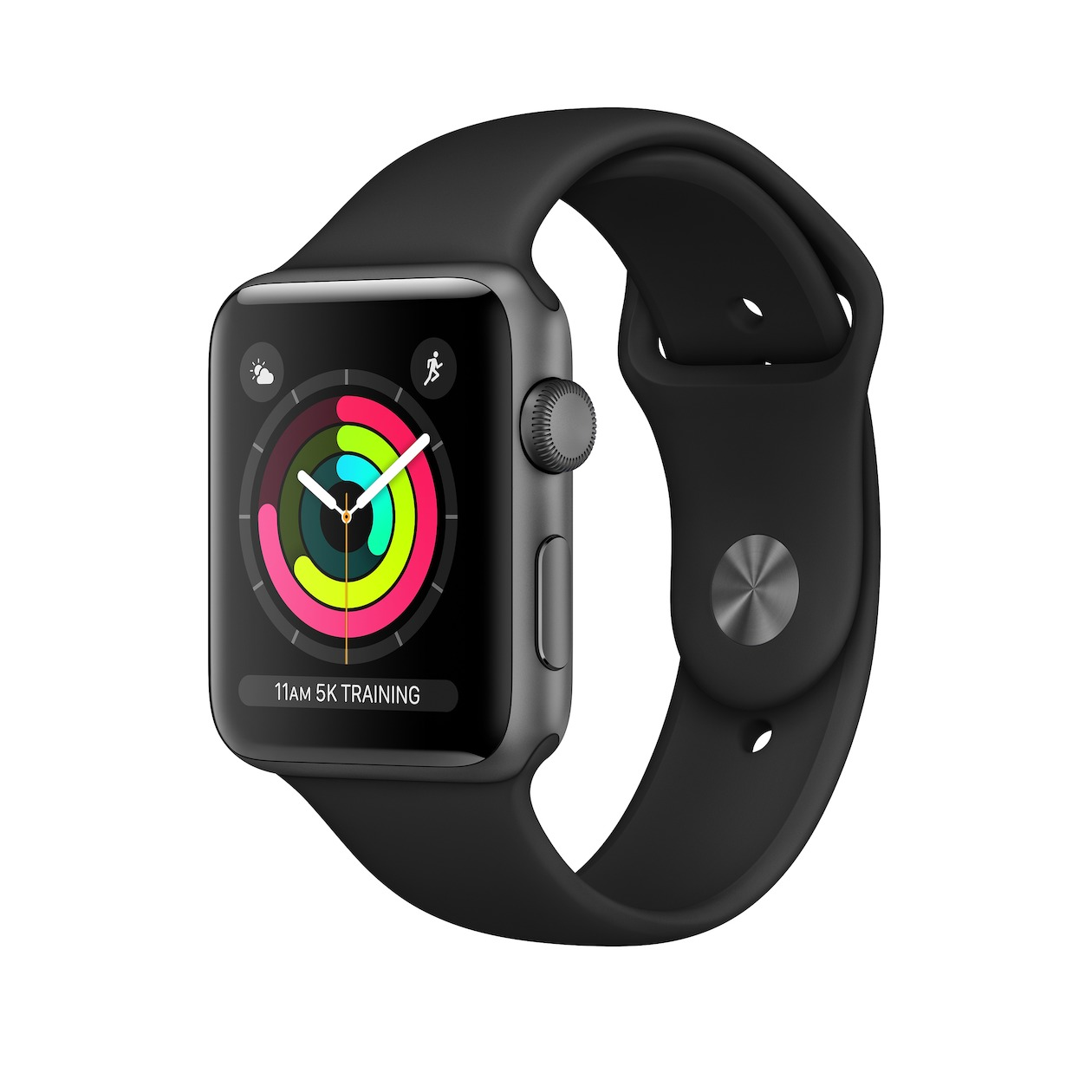 Apple smartwatch Watch Series 3 GPS (42 mm) Aluminium met zwarte sportband spacegrijs