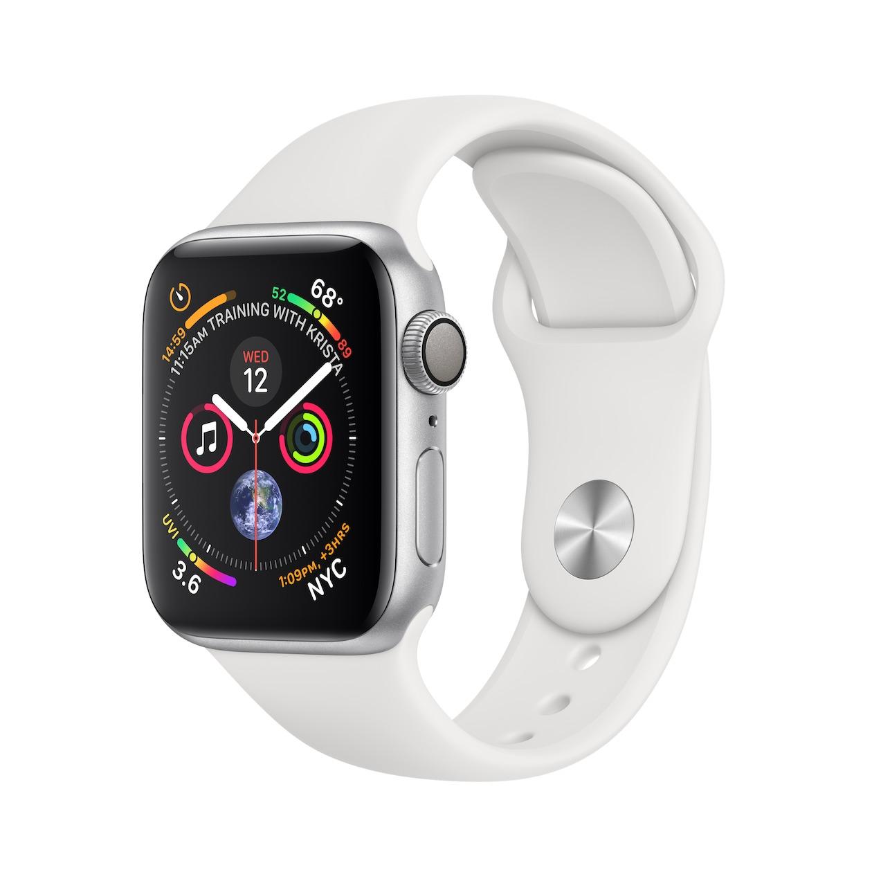 Apple smartwatch Watch Series 4 GPS (40mm) Aluminium met witte sportband zilver