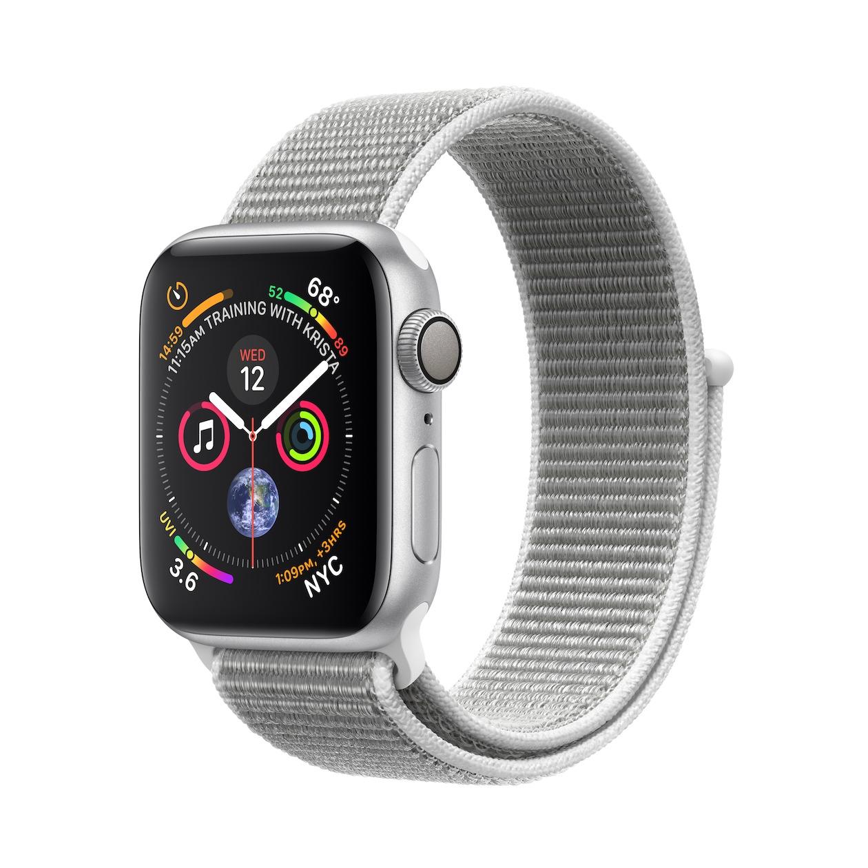 Apple smartwatch Watch Series 4 GPS (40 mm) Aluminium met grijze nylon sportband zilver