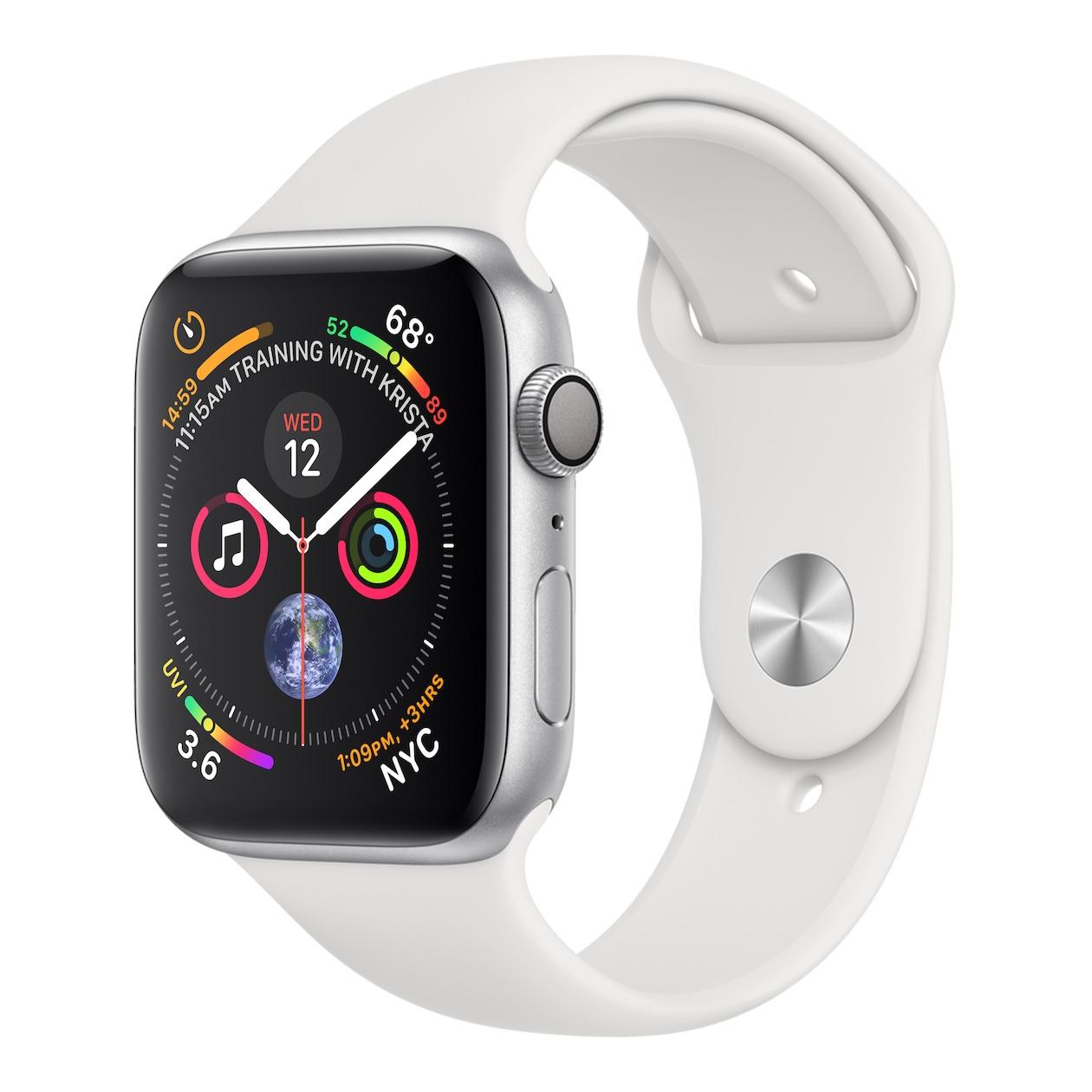 Apple smartwatch Watch Series 4 GPS (44 mm) Aluminium met witte sportband zilver