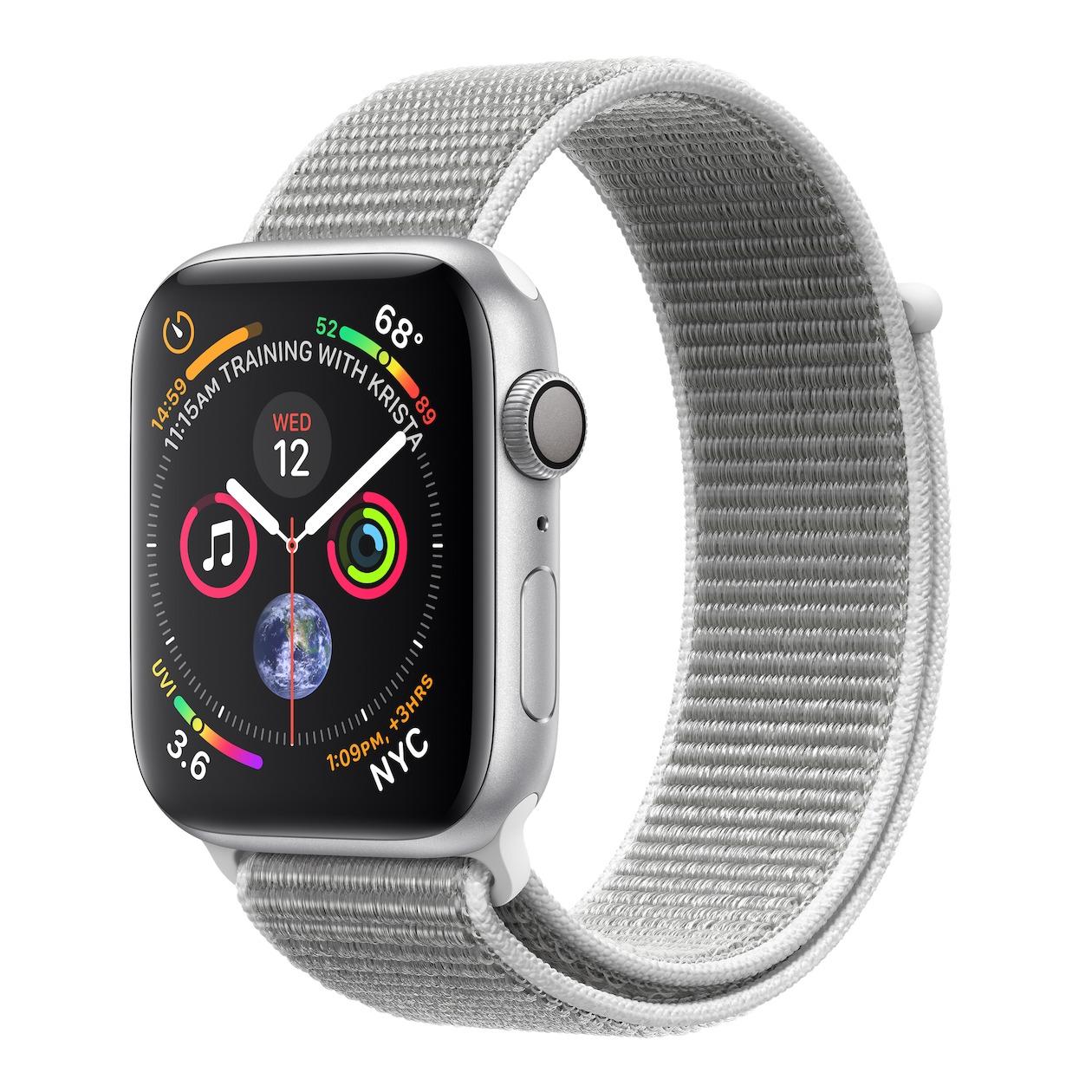 Apple smartwatch Watch Series 4 GPS (44 mm) Aluminium met grijze nylon sportband zilver
