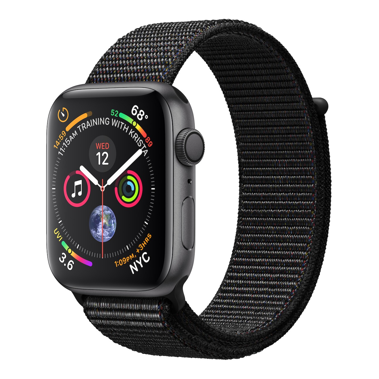Apple smartwatch Watch Series 4 GPS (44 mm) Aluminium met zwarte nylon sportband spacegrijs