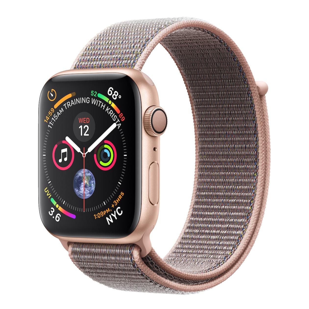 Apple smartwatch Watch Series 4 GPS (44 mm) Aluminium met roze nylon sportband goud