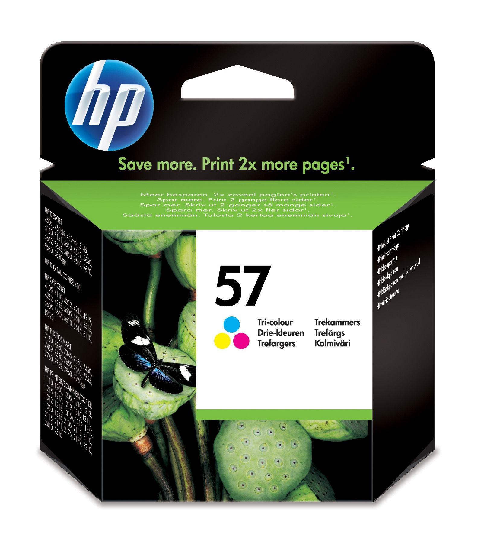 De hp nr. 57 drie kleuren inktcartridge bevat drie kleuren inkt (cyaan, magenta en geel) op kleurstofbasis, ...