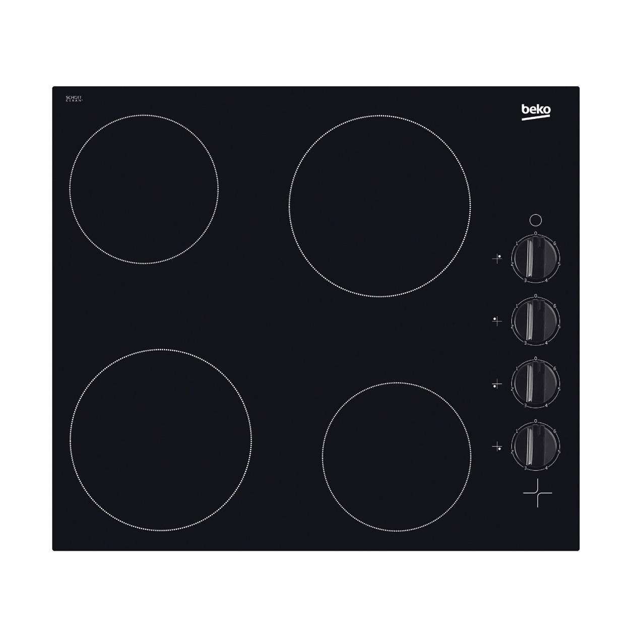 Beko HIC 64100 Keramische inbouwkookplaat Zwart