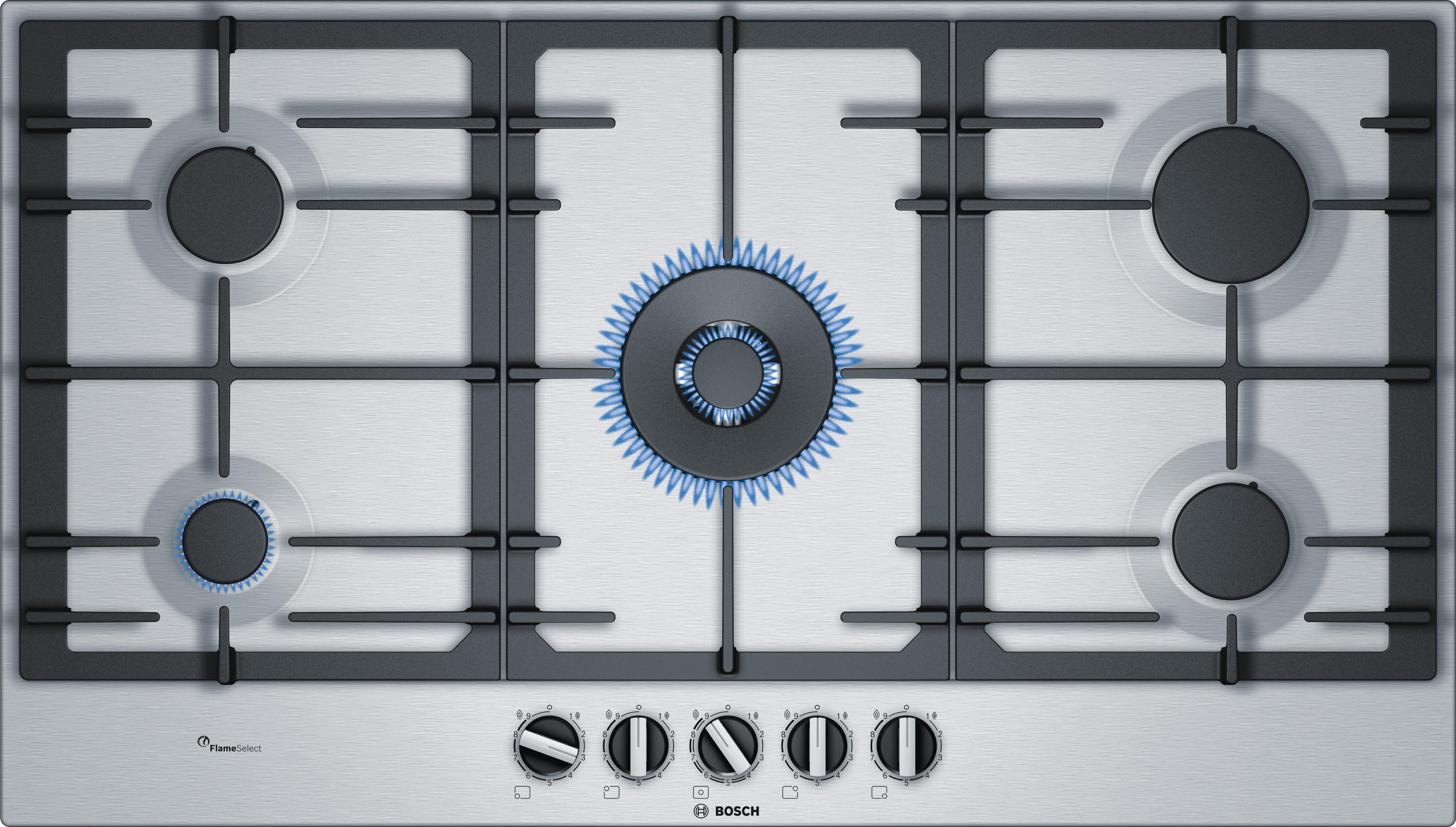 Bosch PCR9A5C90N Gas inbouwkookplaat Staal