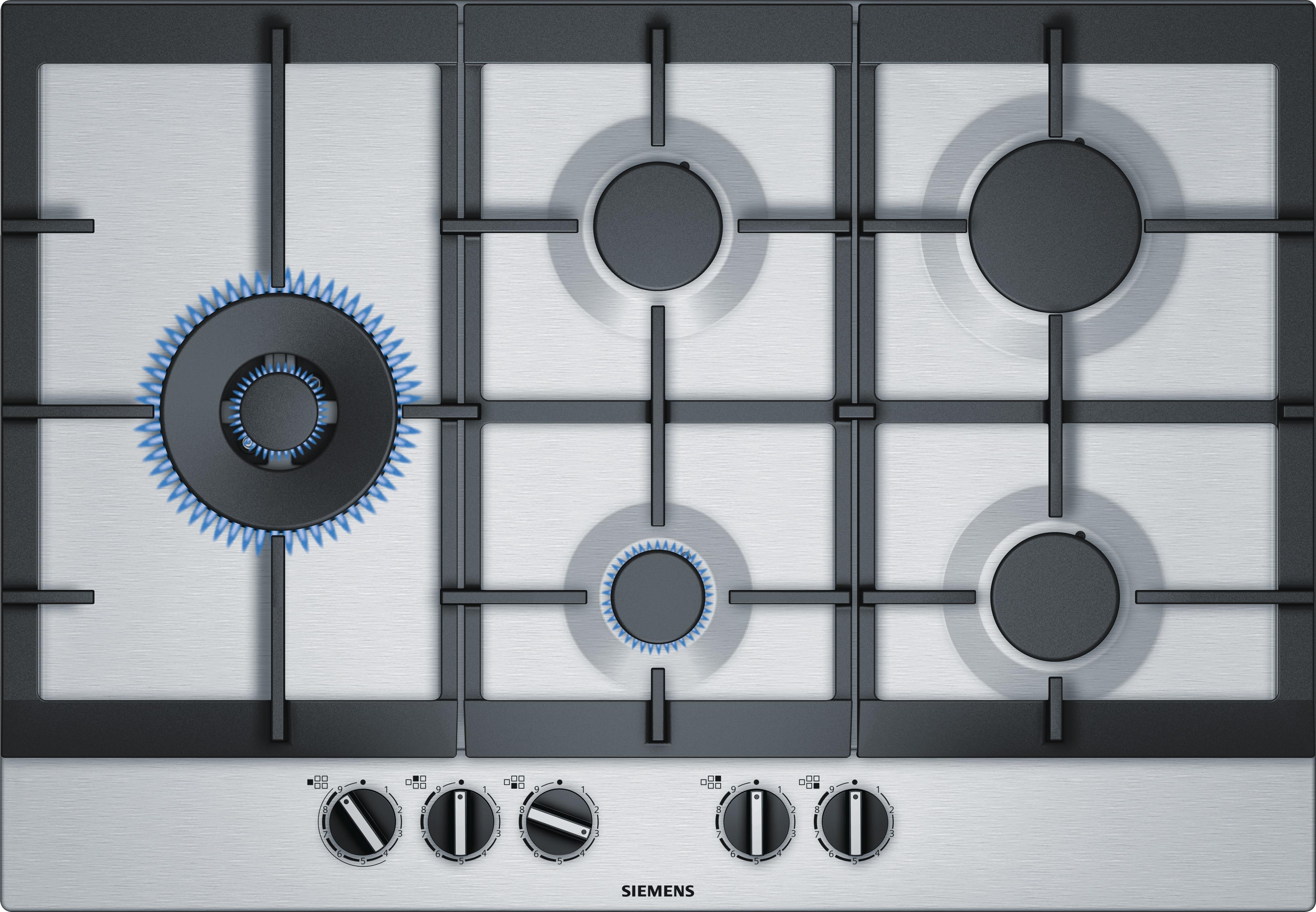 Siemens EC7A5SC90N Gas inbouwkookplaat Aluminium