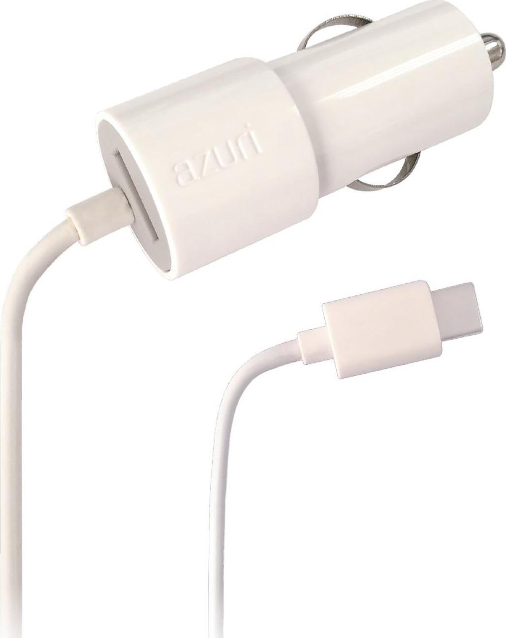 Azuri Autolader USB-C met extra USB 2.4amp 1.2m oplader