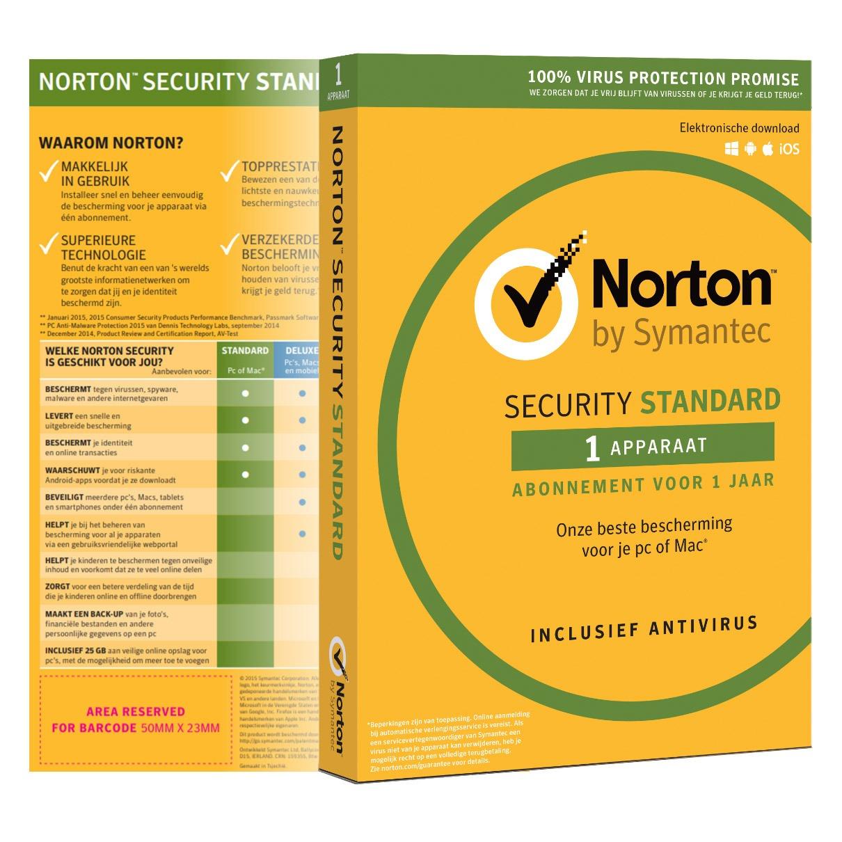 Symantec software Norton Security Standard 2019 | 1 apparaat | 1 jaar | antivirus inbegrepen