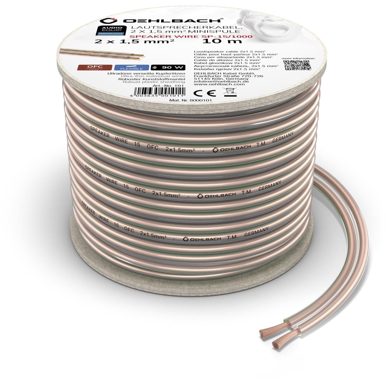 Oehlbach Luidsprekerkabel 2 x 1,5 mm², minihaspel 10 m Luidspreker kabel