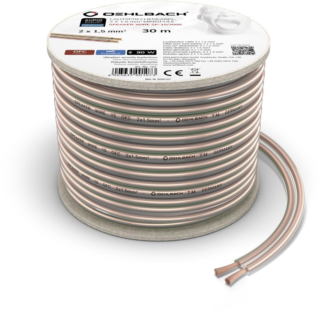 Korting Oehlbach Luidsprekerkabel 2 x 1,5 mm², minihaspel 30 m Luidspreker kabel