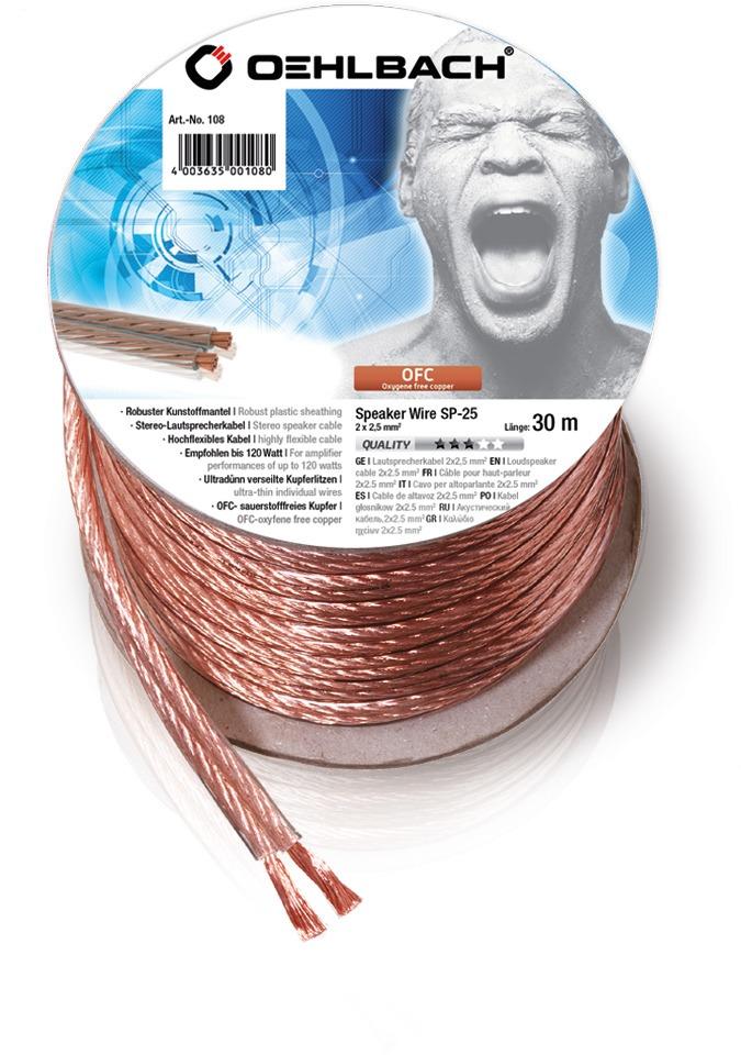 Oehlbach luidspreker kabel Luidsprekerkabel 2 x 25 mm² minihaspel 30 m