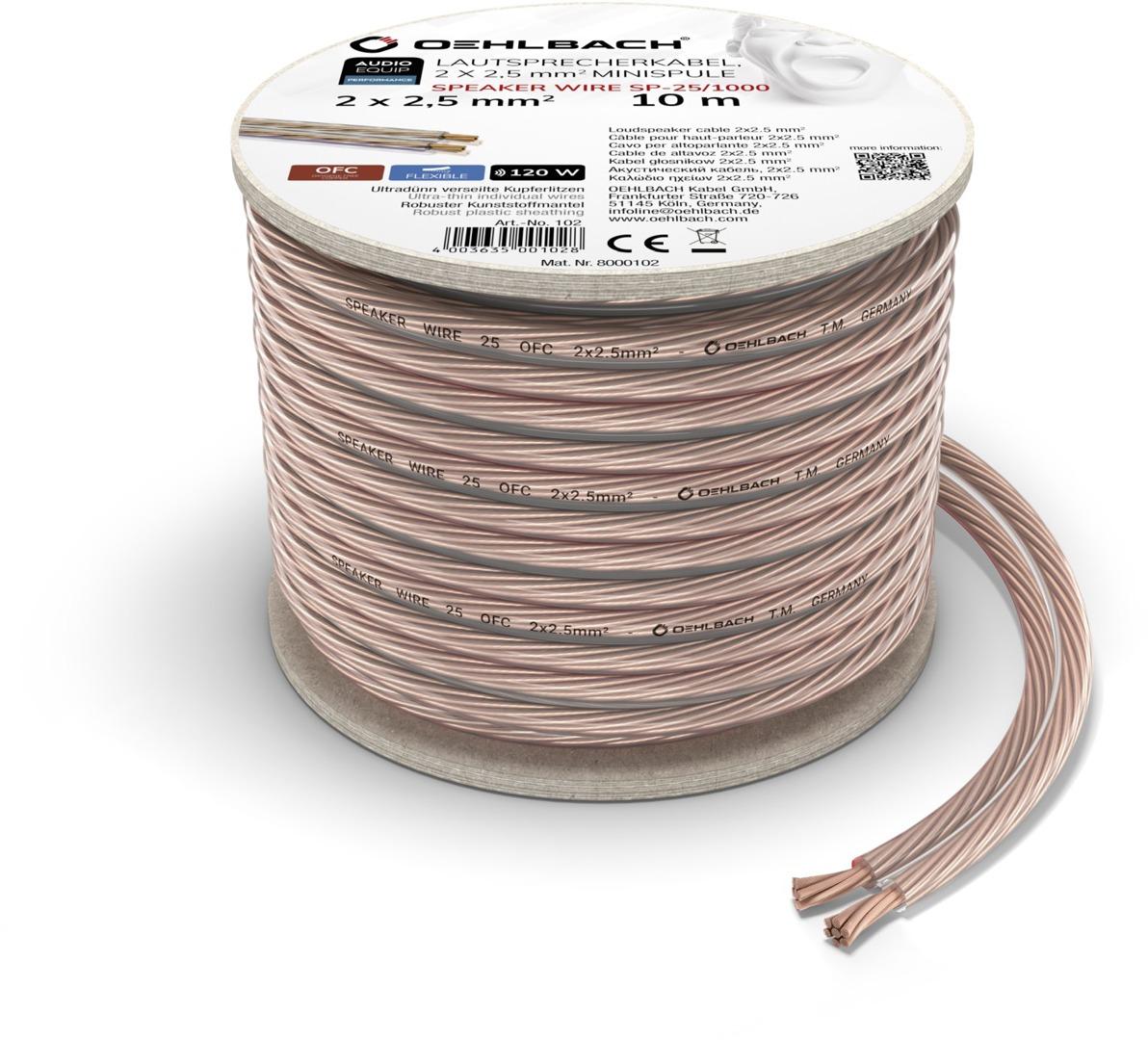 Foto van Oehlbach Luidsprekerkabel 2 x 2,5 mm², minihaspel 10 m Luidspreker kabel