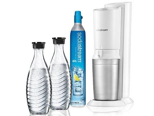 Sodastream waterkan Crystal White toestel incl. 2 glazen karaffen en 60L CO2 cil