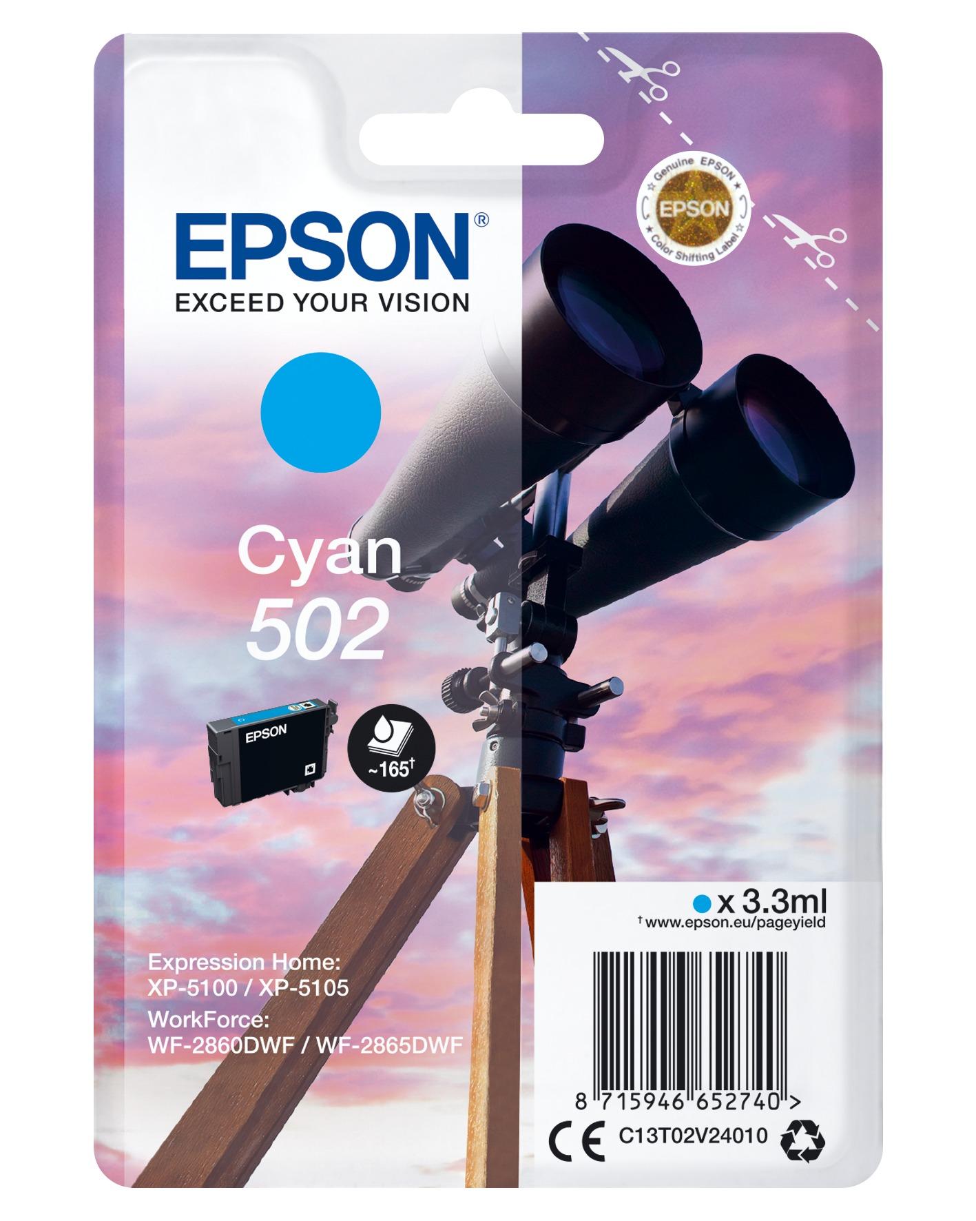Korting Epson 502 cyaan 3.3 ml verrekijker inkt