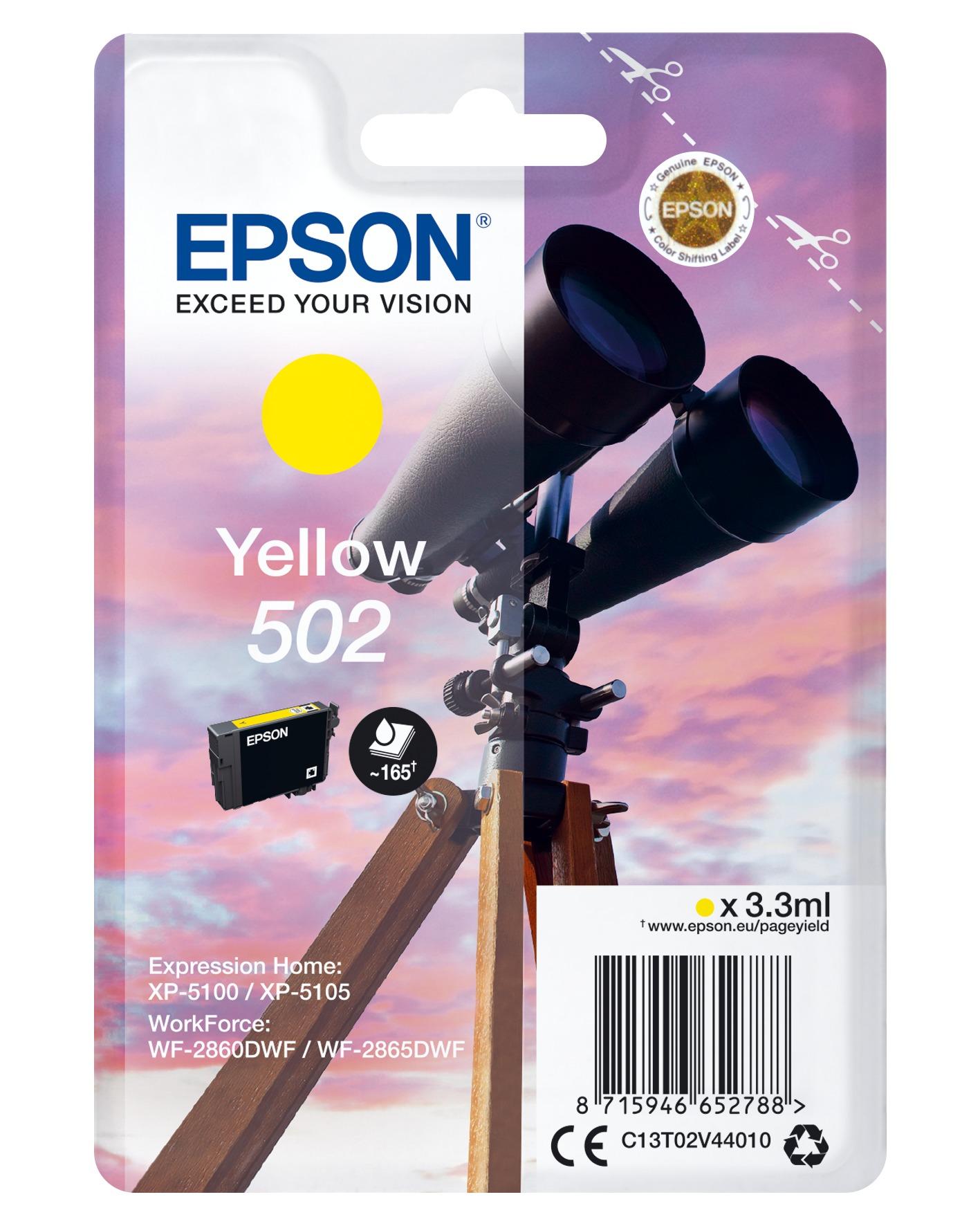 Korting Epson 502 geel 3.3 ml verrekijker inkt