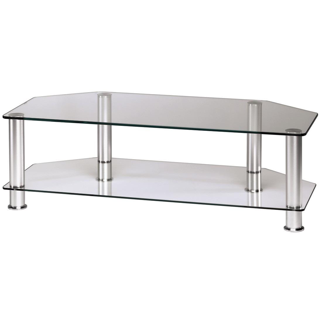 Afbeelding van Hama tv meubel TV meubel 1m 2 boorden aluminium + glas transparant