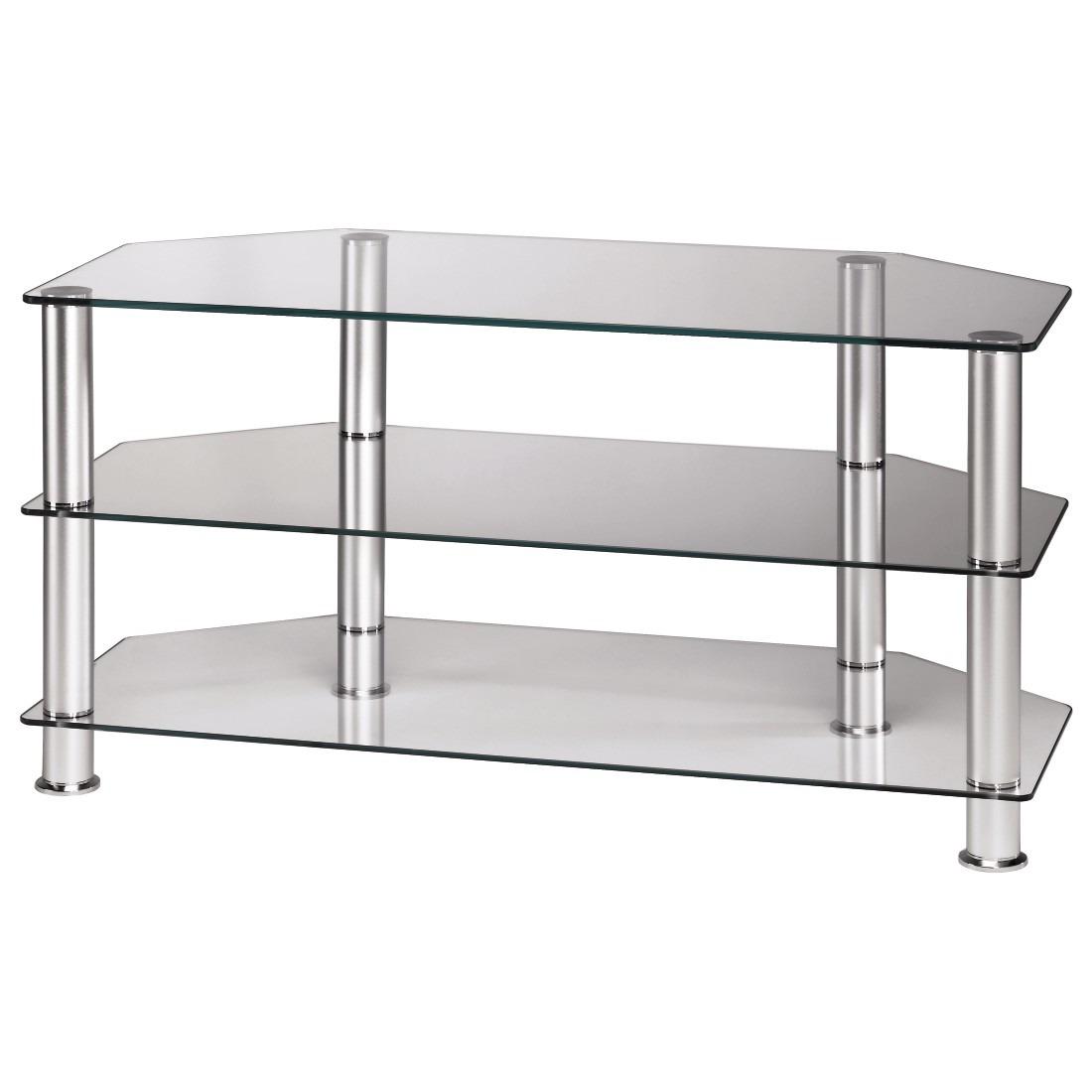Afbeelding van Hama tv meubel TV meubel 1m 3 boorden aluminium + glas transparant
