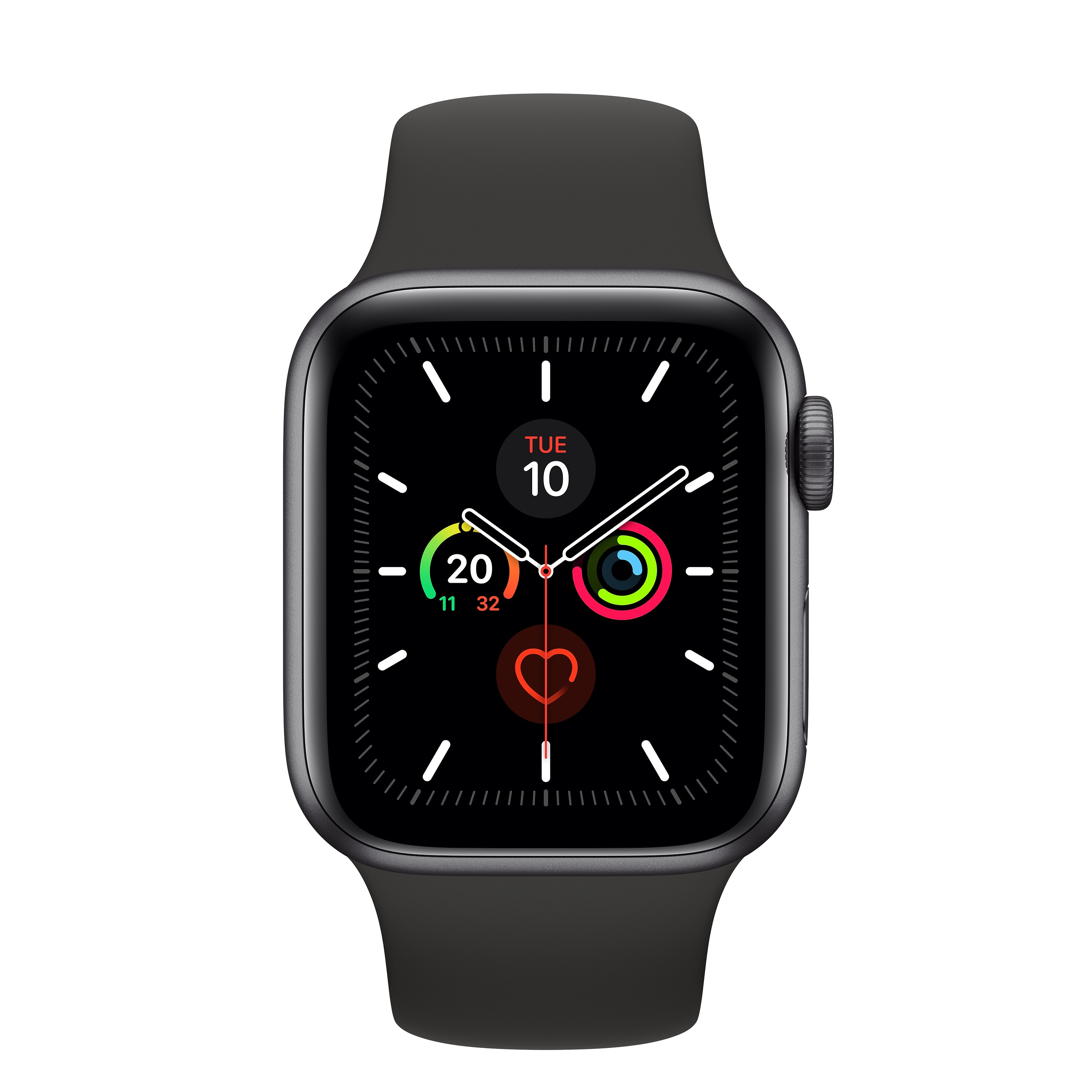 Korting Apple Watch Series 5 (40 mm) Aluminium met zwarte sportband smartwatch