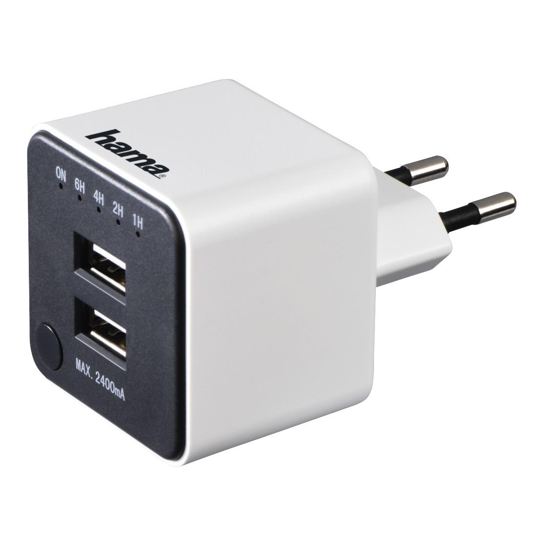 Hama oplader USB-OPLADER MET COUNTDOWN-FUNCTIE, 2-VOUDIGE USB, 2,4A