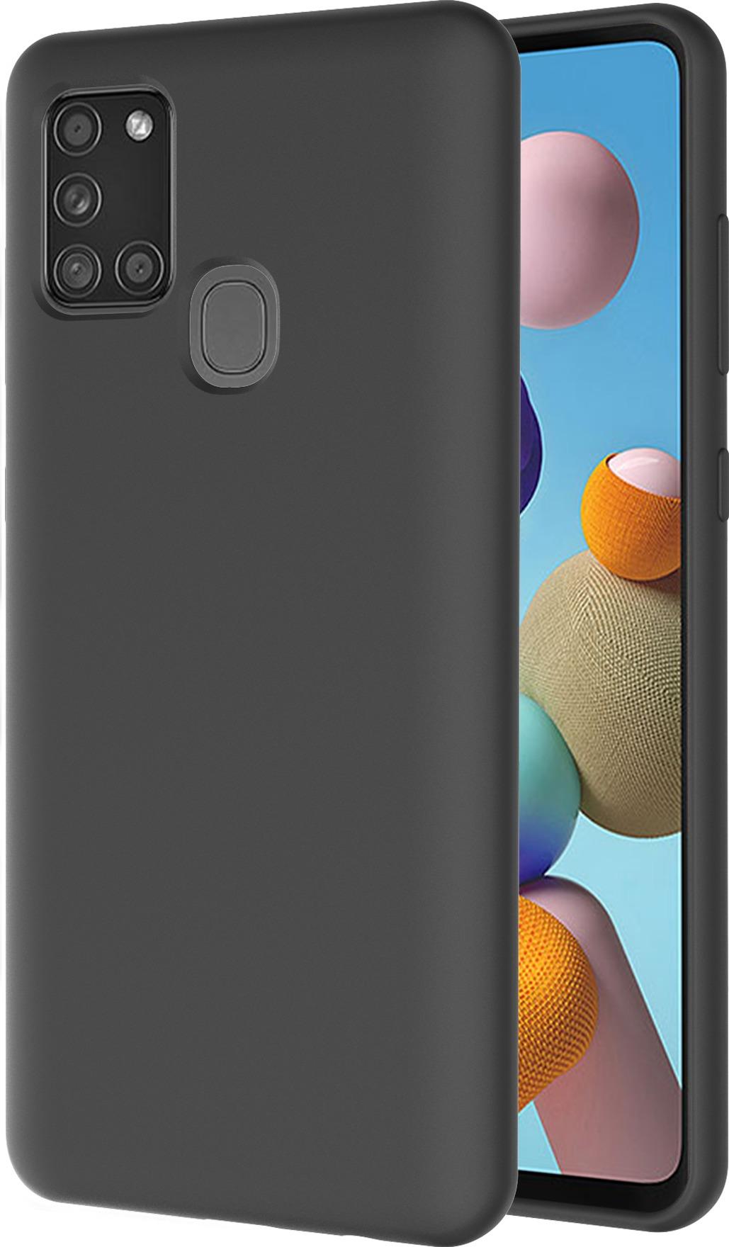 Azuri liquid silicon cover voor Samsung Galaxy A21s Telefoonhoesje Zwart