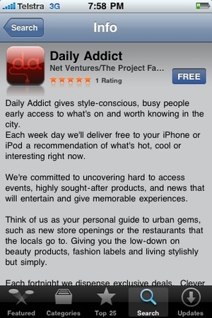 Daily Addict iPhone application
