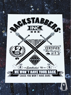 Backstabbers Inc A2 Poster – By Helen Mycroft