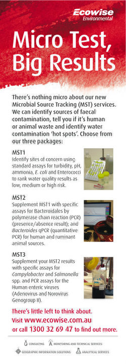 Ecowise Environmental Microbial Source Tracking Press Ad