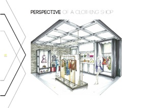 Free Hand Drawing Retail Interior Design