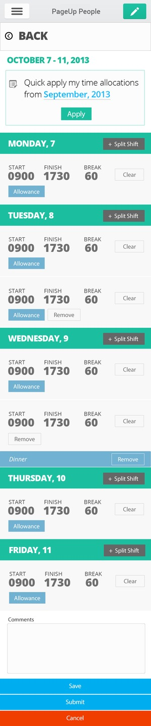 Timesheet Mobile View