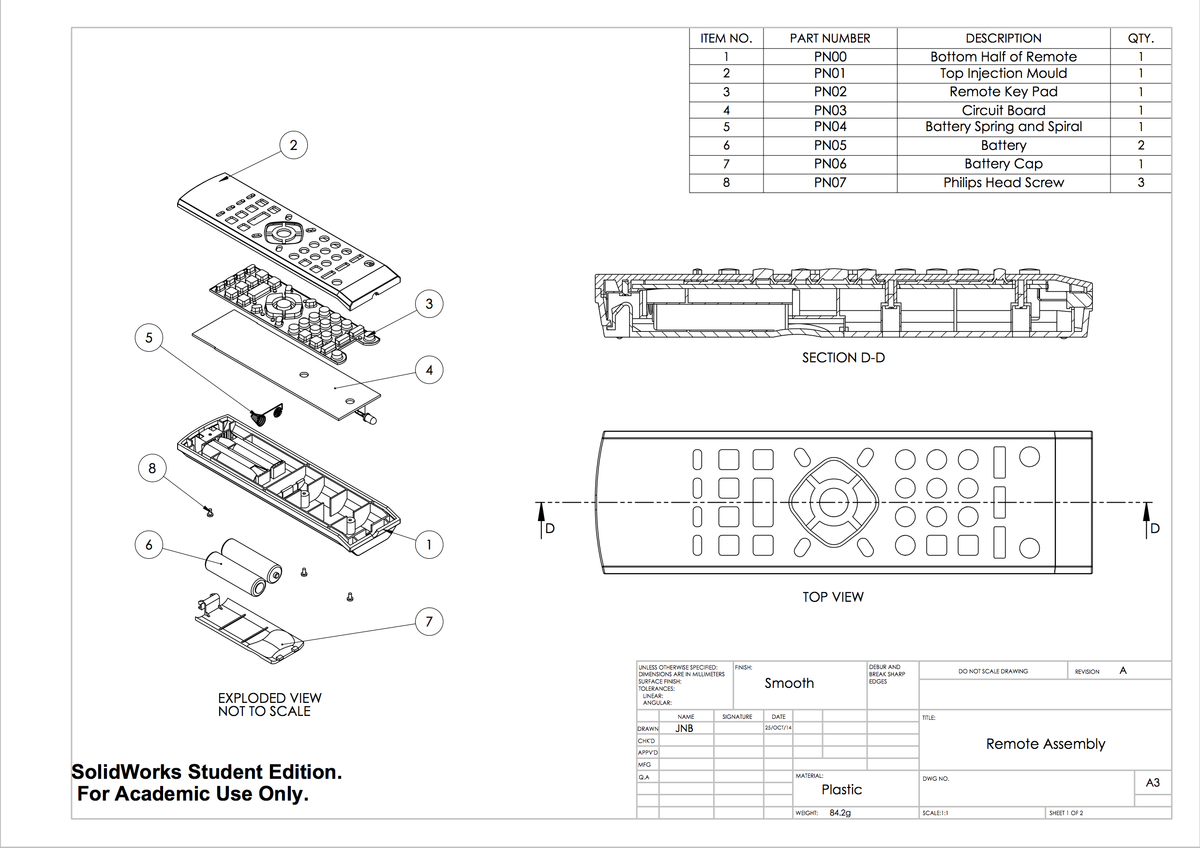 Tv Remote Solidworks Drawings - Jack Bate Portfolio