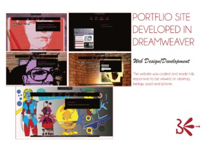 portfolio site developed in dreamweaver