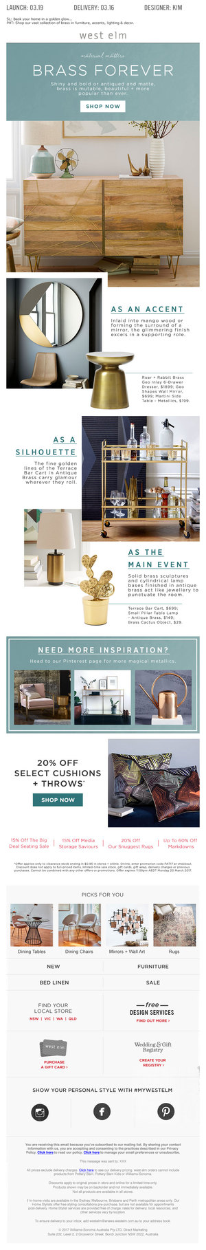 WEST ELM EDM - BRASS DECOR