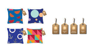 Space + Style cushion and swing tags