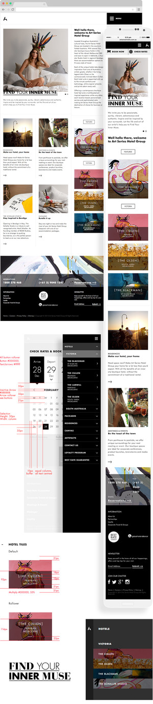 Art Series Hotel Web design and UX