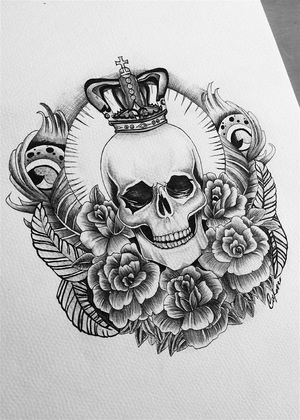 Skull & Rose Tattoo Design